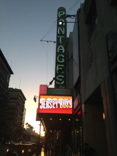 "<font color=""white"">Jersey Boys, Pantages Theatre, Los Angeles</font>"