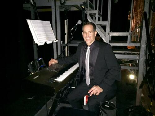 "<font color=""white"">Backstage and playing keyboards at Jersey Boys</font>"